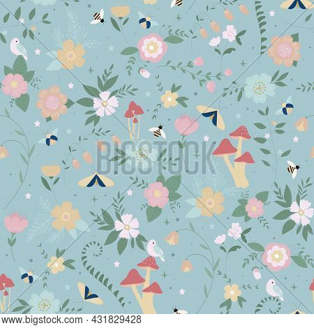 Summer Wildflowers, Floral Seamless Pattern With Colorful Flowers And Abstract Green Plants On Blue