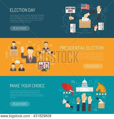 Horizontal Color Banner Depicting Steps Of American Presidential Elections Isolated Vector Illustrat
