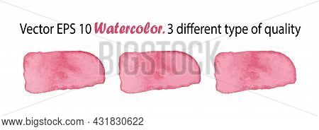 Vector Watercolor Stripes Illustration Isolated On White Background. Pink Color Brush Stripe In Thre