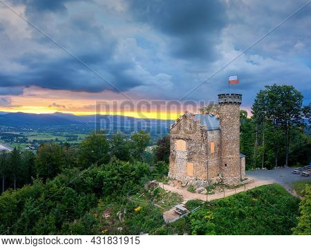 Aerial View Of Henry Castle On Grodna (zamek Ksiecia Henryka) On Sunset In Lower Silesia, Poland