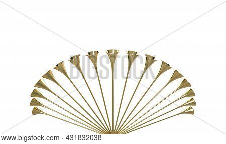 A Group Of Golden Medieval Trumpets In A Circular Arc Proclaiming A Special Occasion On An Isolated