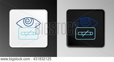 Line Hypnosis Icon Isolated On Grey Background. Human Eye With Spiral Hypnotic Iris. Colorful Outlin