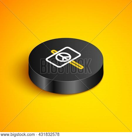 Isometric Line Peace Icon Isolated On Yellow Background. Hippie Symbol Of Peace. Black Circle Button
