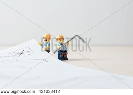 Construction Work With Tools And Instruction Manual. Illustrative Editorial. September 02, 2021