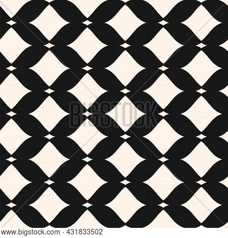 Abstract Monochrome Seamless Mesh Pattern. Black And White Vector Illustration With Curved Rhomboid