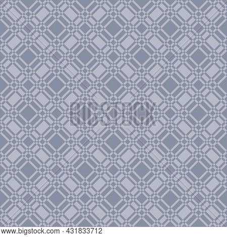 Abstract Seamless Pattern Of Squares. The Mesh Ornament Is Made In Soft Blue Color With Straight Dia