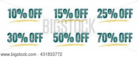 10, 15, 25, 30, 50 And 70 Off Grunge Sale Discount Sticker. Set Of Special Offer Price Reduction Sig