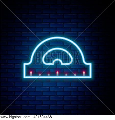 Glowing Neon Line Protractor Grid For Measuring Degrees Icon Isolated On Brick Wall Background. Tilt