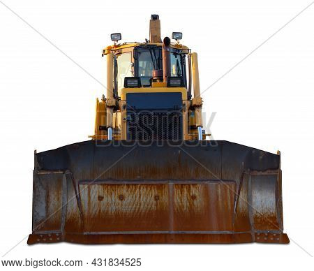 Bulldozer Construction Equipment Industrial Earth Mover On White Background