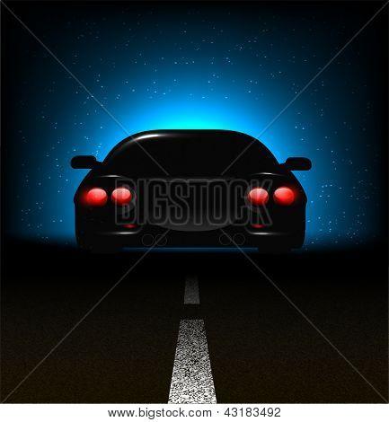 Silhouette of car with backlights on asphalt dark background.