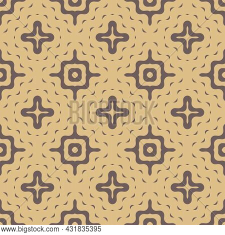 Vector Vintage Abstract Pattern. Illustration On Trendy Background With Wavy Stars And Formed Shapes