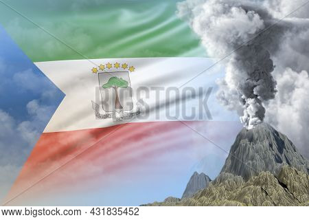 Volcano Blast Eruption At Day Time With White Smoke On Equatorial Guinea Flag Background, Troubles B