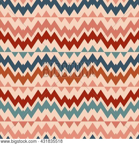 Vector Seamless Ethnic Traditional Pattern. Tribal Ornament Illustration With Colorful Zigzag Shapes