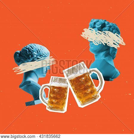 Contemporary Art Composition With Bust Of Ancient Statues And Two Glasses Of Light Beer, Lager. Conc