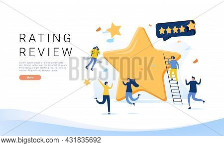 Landing Page Template With Group Of People And Golden Stars. Concept Of Quality Ranking, Excellent R