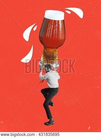 Hard Weekend. Young Man, Businessman, Employee Holding Huge Beer Glass With Lager Isolated On Red Ba
