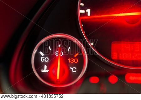 Car Engine Temperature Sensor Close Up Arrows.lit Red Sign Overheating Or Norm,standart Of The Motor