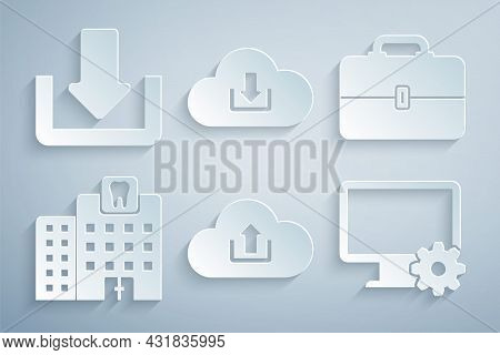 Set Cloud Upload, Toolbox, Dental Clinic, Computer Monitor And Gear, Download And Download Icon. Vec