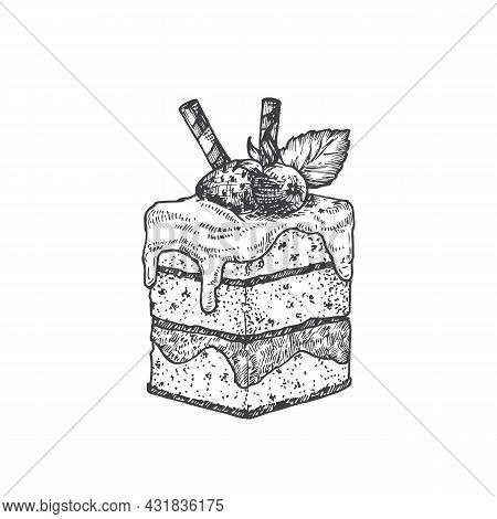 Square Cake With Berries Sweets Hand Drawn Doodle Vector Illustration. Confectionary Sketch Style Dr