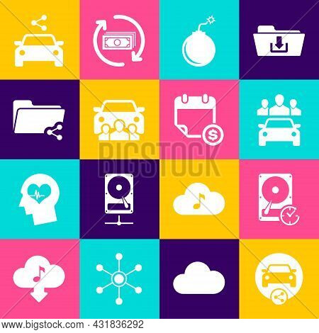 Set Car Sharing, Hard Disk Drive With Clockwise, , Bomb Ready To Explode, And Share Folder Icon. Vec