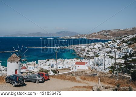 Mykonos Town, Greece - September 24, 2019: View From The Hill Of Hora (also Known As Mykonos Town),