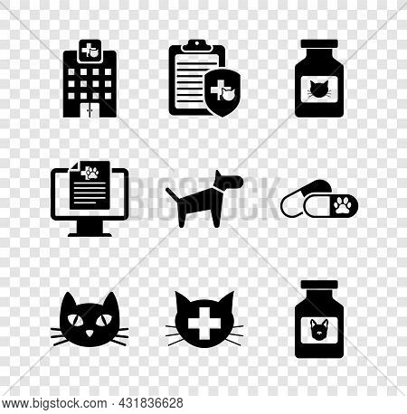 Set Veterinary Medicine Hospital, Clinical Record Pet, Cat Bottle, , Clinic And Dog Icon. Vector