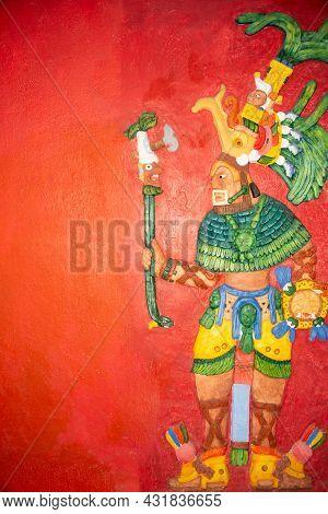 Colored Fresco Of A Mayan Warrior - No Author