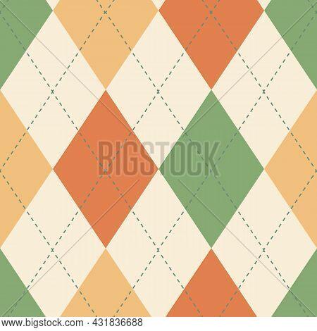 Classic Argyle Seamless Vector Pattern Background. Geometric Green, Beige, Orange, Yellow Backdrop.