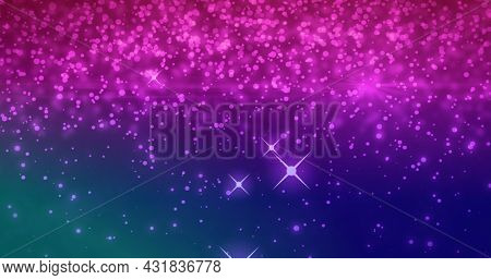 Image of multiple glittering pink particles falling on a purple and blue background. Organic movement of flowing energy particles, digital composite image