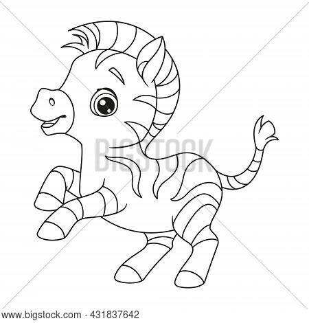 Cute Zippy Zebra Coloring Page. Outline Cartoon Vector Illustration