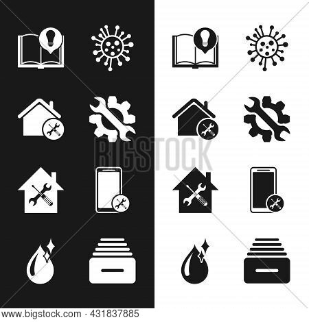 Set Wrench And Gear, House Service, Interesting Facts, Bacteria, Mobile, Drawer With Documents And C