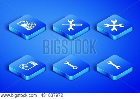 Set Wrench, Blender Service, Microwave Oven, Crossed Screwdriver And Wrench And Wrenchs Icon. Vector