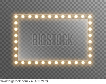 Makeup Mirror With Light. Dressing Mirror With Bright Bulbs. Rectangle Glass With Reflection For Pos