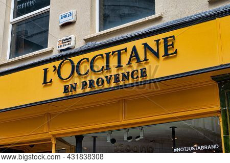 Cork, Ireland- July 14, 2021: The Sign For Loccitane En Provence  Store  In Cork City