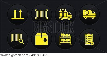 Set Search Barcode, Delivery Truck And Stopwatch, Box With Fragile Content, Warehouse, Gift, Barcode