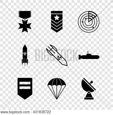Set Military Reward Medal, Chevron, Radar With Targets, Parachute, Biohazard Rocket And Nuclear Icon