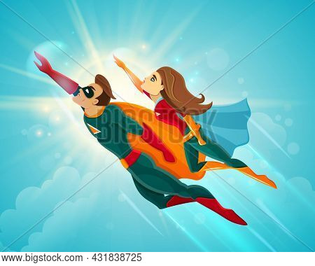 Super Heroes Couple Man And Woman Flying Together In Blue Sky Vector Illustration