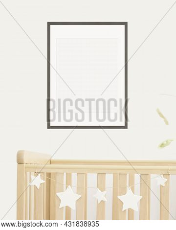 Mock Up Poster Frame In Children Room, Nursery Room With Wooden Crib For Kids With White Ceramic Sta