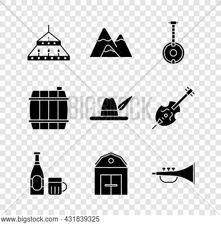 Set Massive Steel Chandelier, Mountains, Banjo, Beer Bottle Glass, Farm House, Musical Instrument Tr