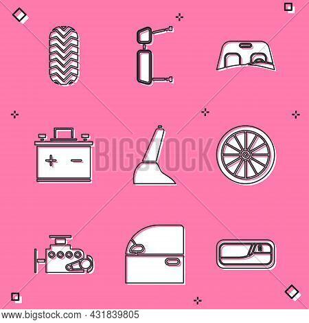 Set Car Tire, Truck Side Mirror, Windscreen, Battery, Handbrake, Wheel, Engine And Door Icon. Vector