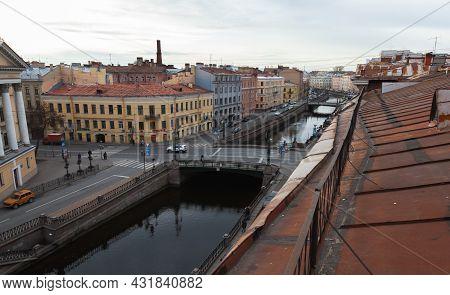 St. Petersburg, Russia - October 25, 2014: Griboyedov Canal And Voznesensky Bridge, City View Taken