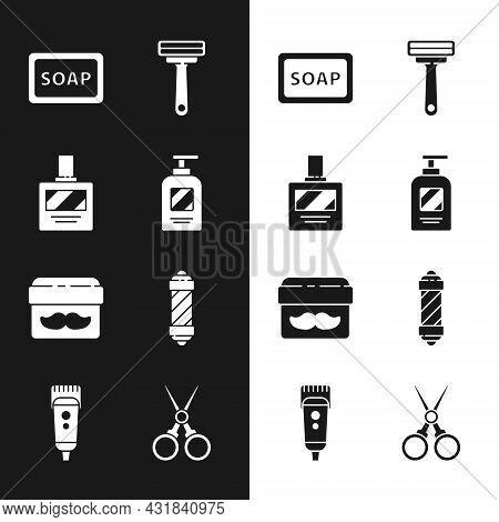 Set Bottle Of Shampoo, Aftershave, Bar Soap With Foam, Shaving Razor, Cream Lotion Cosmetic Jar, Cla