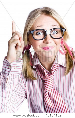 Brainy Business Woman Pointing Up To Great Idea
