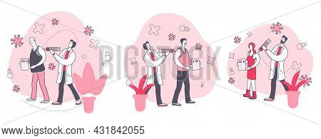 Vaccination By Age. Set Of Illustrations With People Of Different Ages Receiving A Vaccine.