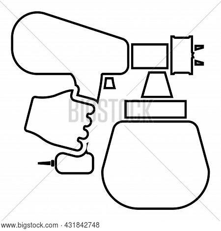 Spray Gun Holding In Hand Sprayer Using Arm Use Tool Atomizer Pulverizer Contour Outline Icon Black