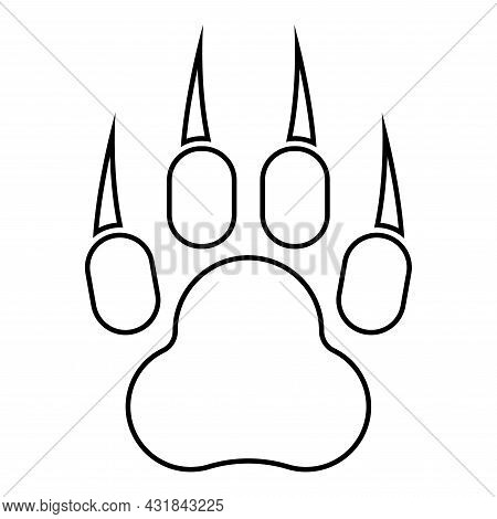 Print Paw Wild Animal With Claw Track Footprint Predatory Pawprint Contour Outline Icon Black Color