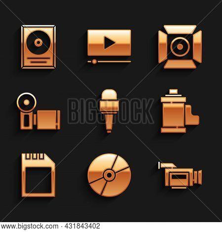 Set Microphone, Cd Or Dvd Disk, Cinema Camera, Camera Film Roll Cartridge, Sd Card, Movie Spotlight