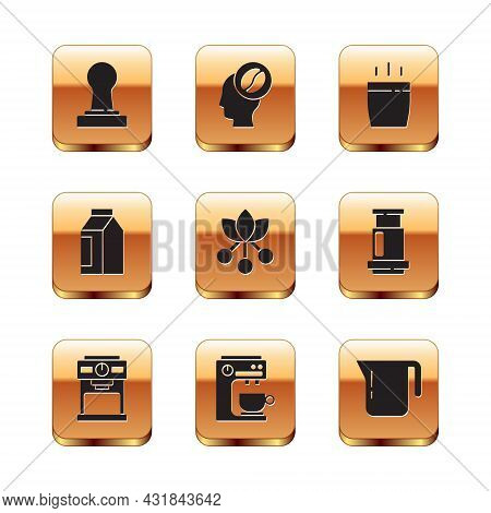 Set Coffee Tamper, Machine, Bean, Branch, Bag Coffee Beans, Cup, Pot And Barista Icon. Vector