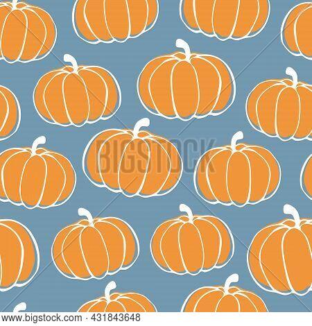Autumn Pumpkins Seamless Pattern. Halloween, Thanksgiving Day Vector Doodle Pumpkin