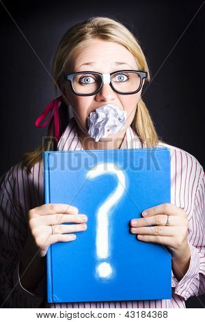 Cautious Woman Holding Book Of Education Questions
